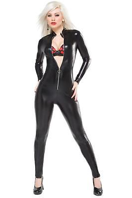 Black Catsuit Wet Look Spandex Long Sleeve Front Zippered S-l Darque D991