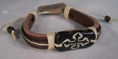 2 Leather Bone Carved Cross Handmade Bracelet Jewelry