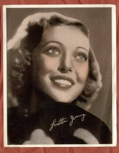 LORETTA YOUNG 1938 RARE VINTAGE SIGNED TINTED PICTURE