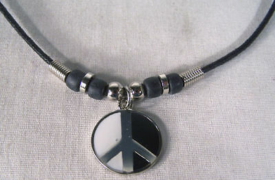 2 Peace Sign Unity Rope Necklace Bead Jewelry Item Unisex Beads Mens Ladies
