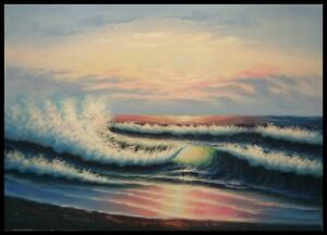 36-x24-Oil-Painting-on-Artist-Canvas-Evening-Seashore-Hand-Painted