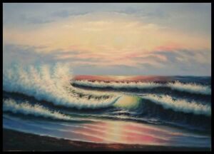 36-034-x24-034-Oil-Painting-on-Artist-Canvas-Evening-Seashore-Hand-Painted