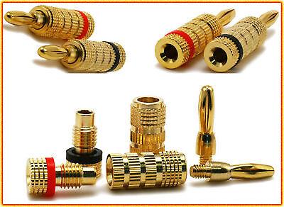 Ultra Gold Banana Plugs Screw Type Jack Solderless Plug 1 Pair Audio Spades