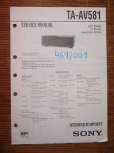 Original Einen Einzigartigen Nationalen Stil Haben Tv, Video & Audio Service-manual Sony Ta-av581 Amplifier