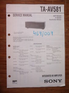Service-manual Sony Ta-av581 Amplifier Original Einen Einzigartigen Nationalen Stil Haben Tv, Video & Audio
