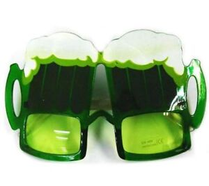 2-GREEN-BEER-PARTY-SUNGLASS-eyewear-ST-PATRICK-DAY-funny-drinking-sunglasseses