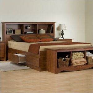 contemporary cherry 6 drawer king size platform storage bed bookcase headboard ebay. Black Bedroom Furniture Sets. Home Design Ideas