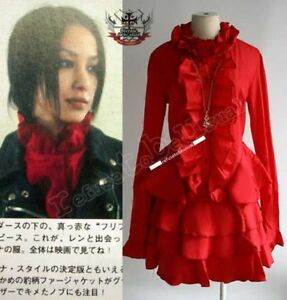 Gothic-Punk-LOLITA-EGL-COS-MANA-Tux-Ruff-Red-NANA-DRESS