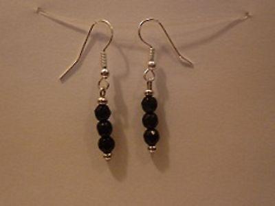 Boucles D'oreilles Obsidienne Noire Facetee Argent 925