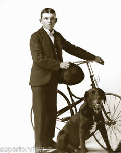 Vintage-Unique-Bicycle-Antique-Bike-Boy-With-Dog-From-Glass-Plate-Derby-Hat-LOOK