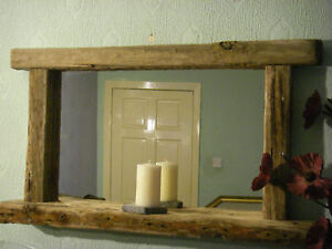 Large Rustic Chunky Reclaimed Wooden Driftwood Mirror with Candle shelf wood
