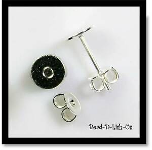 100 x SILVER 6mm Glue Pad Studs Earring Posts & Backs