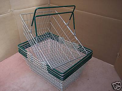 Pk of 5 Wire Shopping Baskets Green Handles
