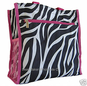 Zebra Animal Print Shopping Tote Bag Handbag Pink Trim