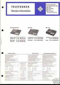 Telefunken Original Service Manual für MC 200/210 M 201