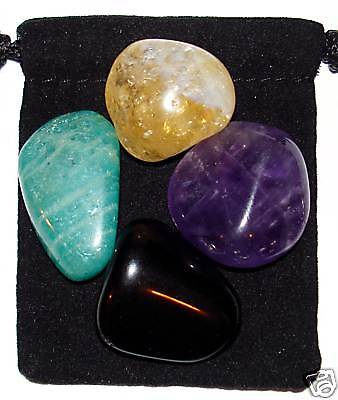 Negative Energy Block Tumbled Crystal Healing Set   4 Stones   Pouch   Card
