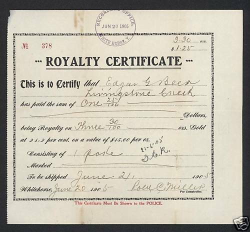 1905 Klondike Yukon Alaska Whitehorse - Royalty Mining Certificate RARE!