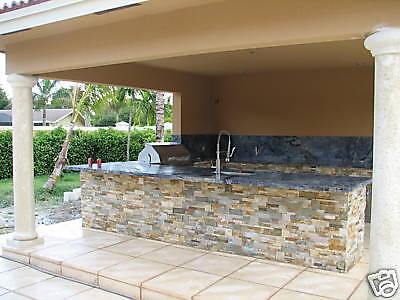 terra dark ochre stacked natural stone for walls