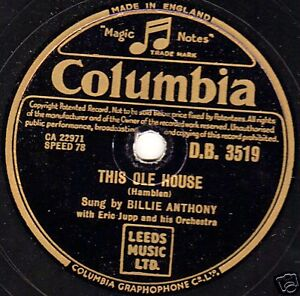 1954 classic uk 4 billie anthony 78 this ole house for Classic uk house music