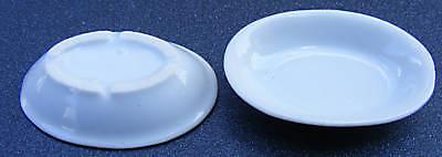1-12-Scale-2-White-Dishes-Dolls-House-Miniature-Ceramic-Kitchen-Accessory-W22