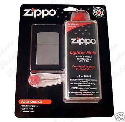 Zippo All In One Kit, Street Chrome 207 Lighter, 6 Flints an