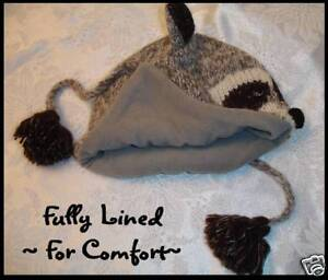 deLux-RACCOON-HAT-mask-knit-ADULT-racoon-QUALITY-cap-costume-FLEECE-LINED-toque