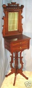 RENAISSANCE-REVIVAL-EASTLAKE-WALNUT-SHAVING-STAND