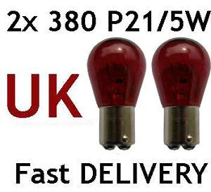 2x-P21-5W-BAY15d-380-RED-Stop-Brake-Tail-Car-Bulbs
