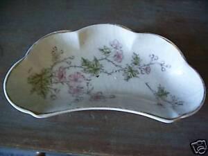 Antique-Bone-Dish-Pink-Floral-Design-Gold-Trim-AS-IS