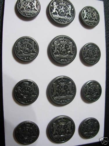 12p Metal Blazer Button Set Designer Coat Shank 5/8/3/4 Hi Li S/ Dark Pewter