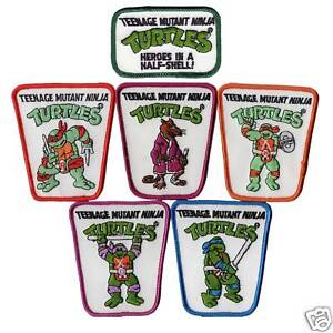 6 Original TMNT All Teenage Mutant Ninja Turtle Turtles & Logo Iron On Patch Lot