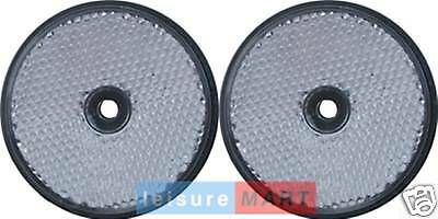 Pair of White / clear reflectors screw on type round