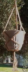 Macrame Plant Hanger 25in Vintage 3ARM 3ply JUTE! SALE