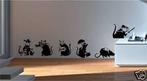 BANKSY-STYLE-RATS-X6-WALL-ART-VINYL-STICKERS-GRAFFITI