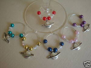 WINE GLASS RINGS coloured beads & Space / Planet Charm
