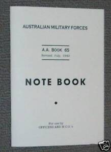NOTE BOOK AA65 - AUSSIE ARMY WW2 ISSUE BOOKLET