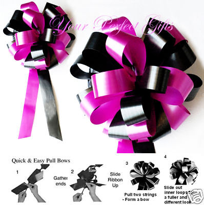 "Sale 30 Pcs 8"" Fuchsia Pink Black Wedding Pew Bow Bridal ..."