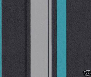 rasch tapete 719284 vlies t rkis schwarz grau neu gestreift vliestapete ebay. Black Bedroom Furniture Sets. Home Design Ideas