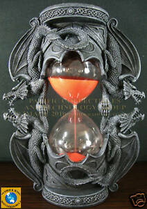 DUAL-DRAGON-SANDTIMER-RED-SAND-KEEPERS-OF-TIME-STATUE-16-MINUTES-HOURGLASS