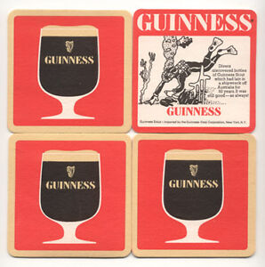 4 Guinness Stout Beer Coasters Vintage