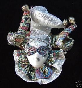 Porcelain-Jester-Face-Mardi-Gras-Ornament-Lady-SILVER