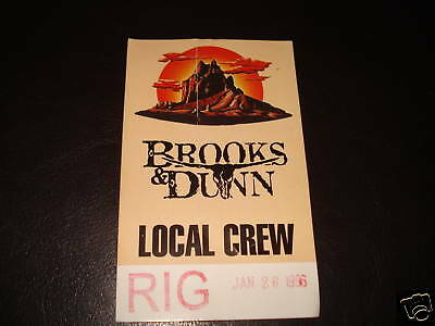 Brooks & Dunn 1996 Tour Backstage Concert  Pass