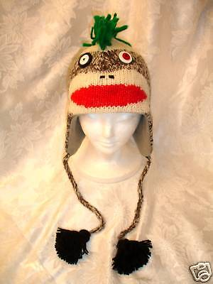 Punk-Rock-SOCK-MONKEY-HAT-knit-ADULT-costume-FLC-LINING-green-mohawk-helmet-head