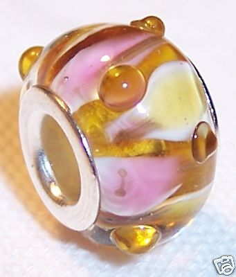 Pink Yellow Textured Murano Glass Bead For Silver European Style Charm Bracelets