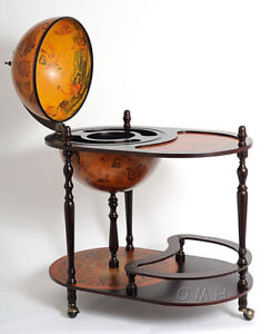 Unique Old World Style Globe Wooden Hidden Home Bar Trolley Ebay