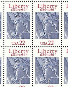 2224 22c STATUS OF LIBERTY NH FULL SHEET OF 50 SPECIAL SALE AT FACE