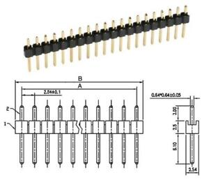 2x-Stiftleiste-je-40-polig-gerade-RM2-54-0-60-St