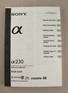 Sony DSLR-A230 Instruction Manual ORIGINAL BOOK NEW OEM