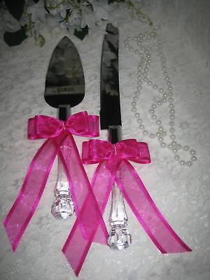 Wedding Supplies Elegant Cake Knife & Server Fushcia