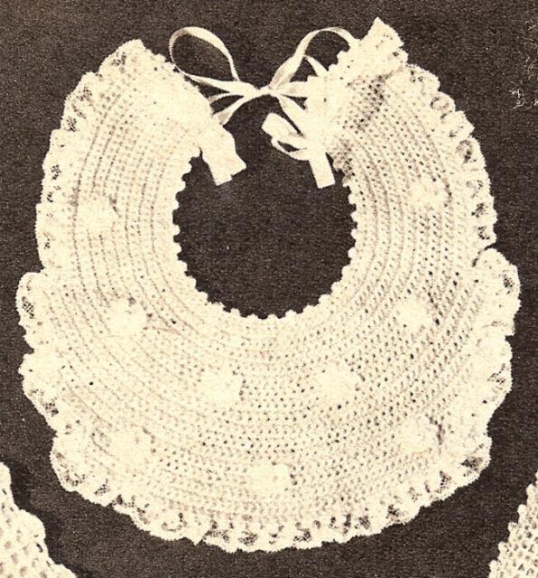 Vintage Crochet Pattern Baby Bib Fancy Christening Ebay